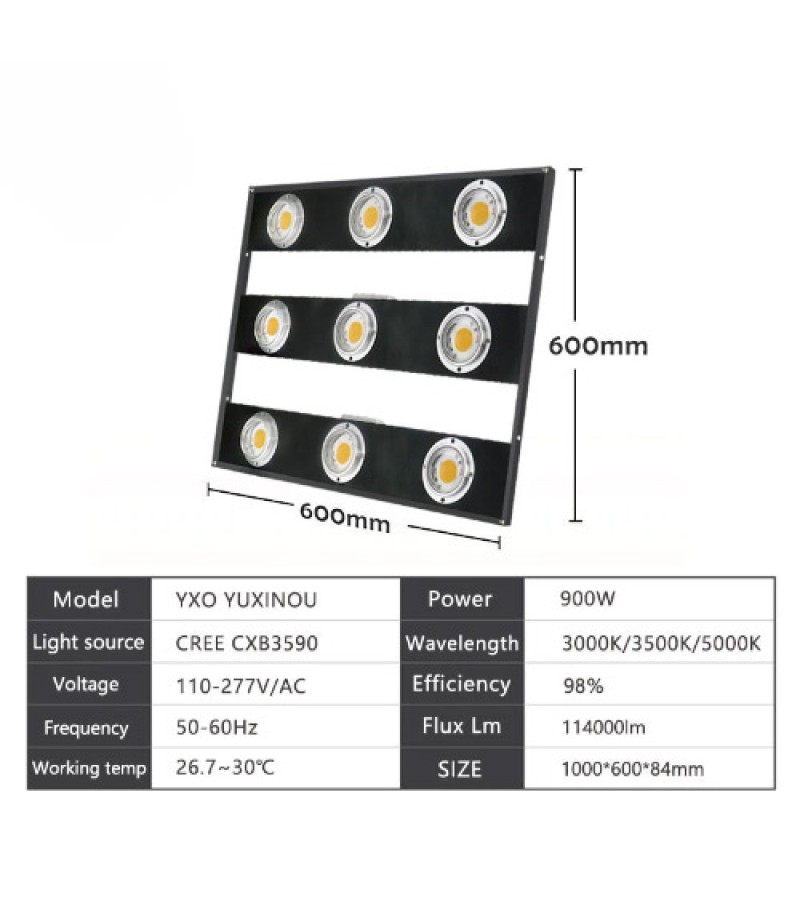 900w Cree Cxb3590 Cob Led Grow Light Full Spectrum