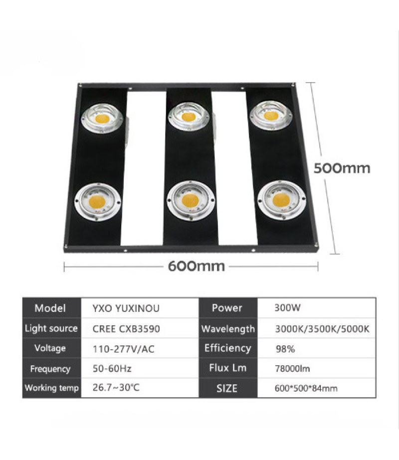 600W CREE CXB3590 COB LED Grow Light Full Spectrum